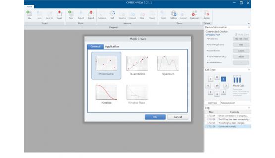 Software Espectrofotometría - OPTIZEN View - Modo general